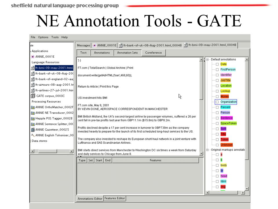 NE Annotation Tools - GATE