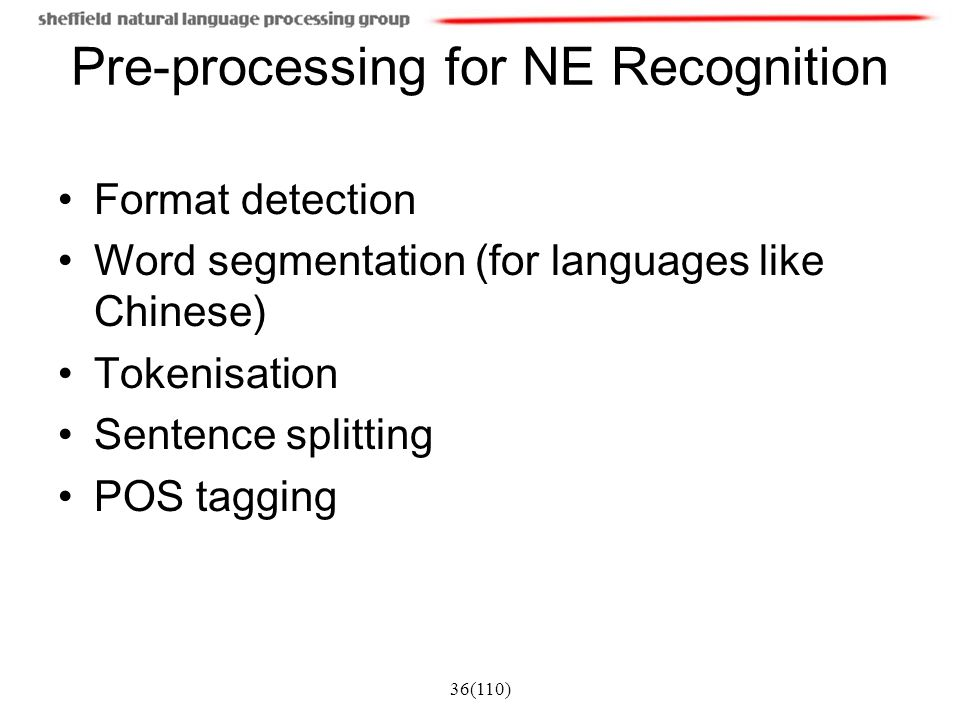 Pre-processing for NE Recognition