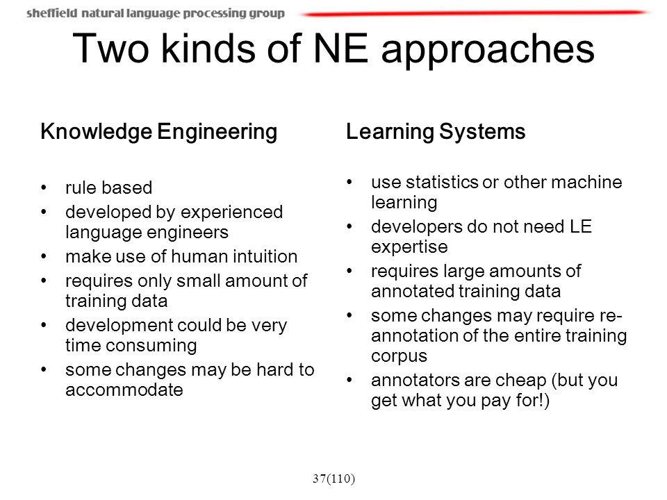 Two kinds of NE approaches
