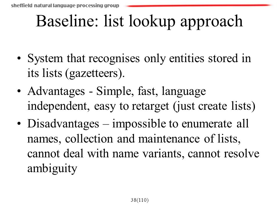 Baseline: list lookup approach