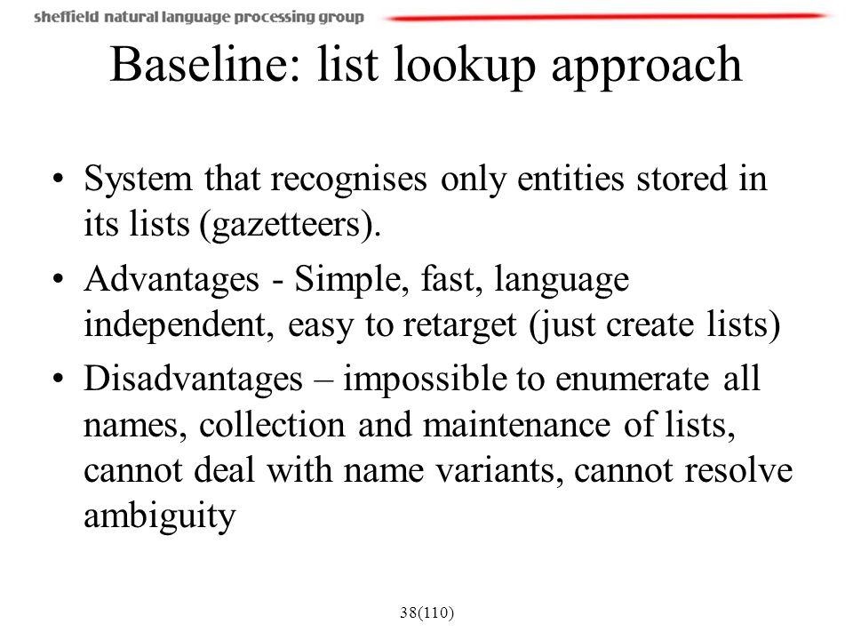 Baseline: list lookup approach