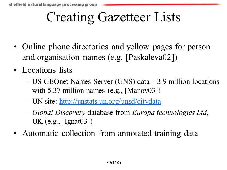 Creating Gazetteer Lists
