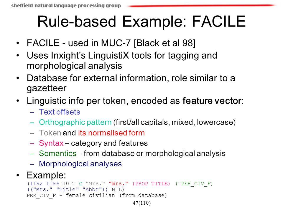 Rule-based Example: FACILE
