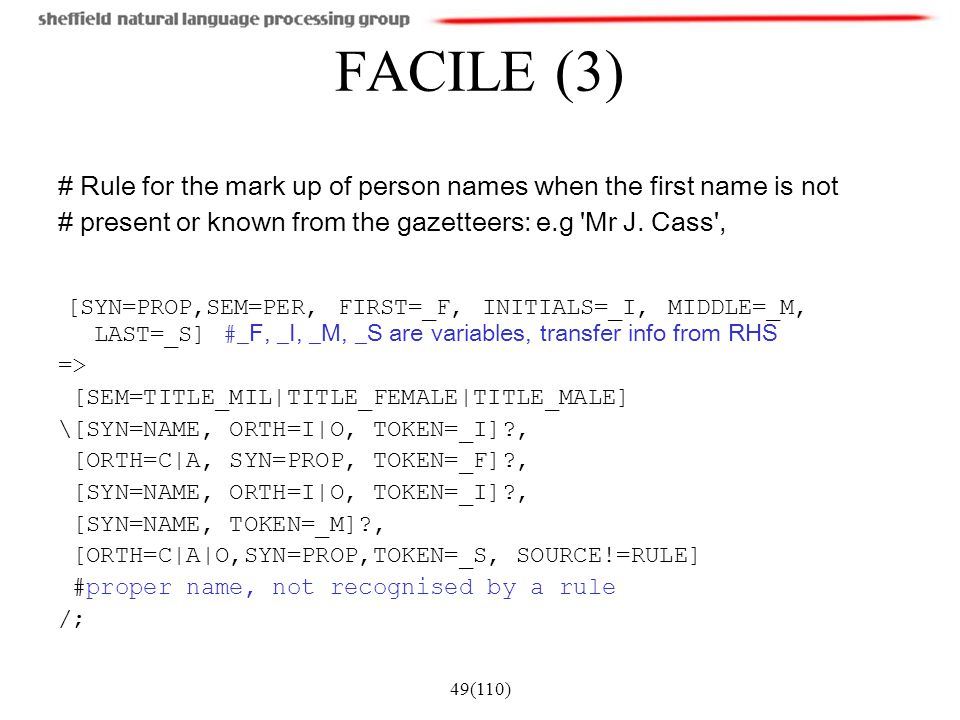 FACILE (3) # Rule for the mark up of person names when the first name is not. # present or known from the gazetteers: e.g Mr J. Cass ,