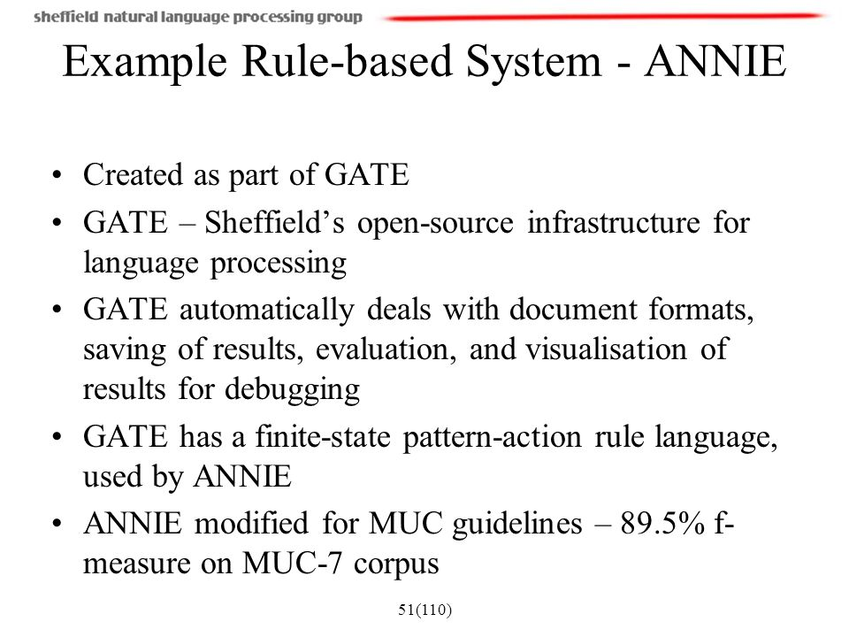 Example Rule-based System - ANNIE