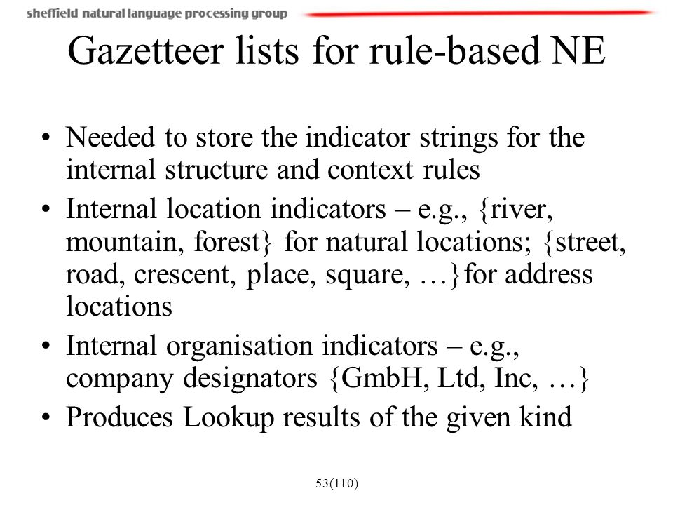Gazetteer lists for rule-based NE