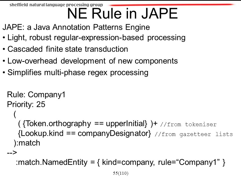 JAPE: a Java Annotation Patterns Engine