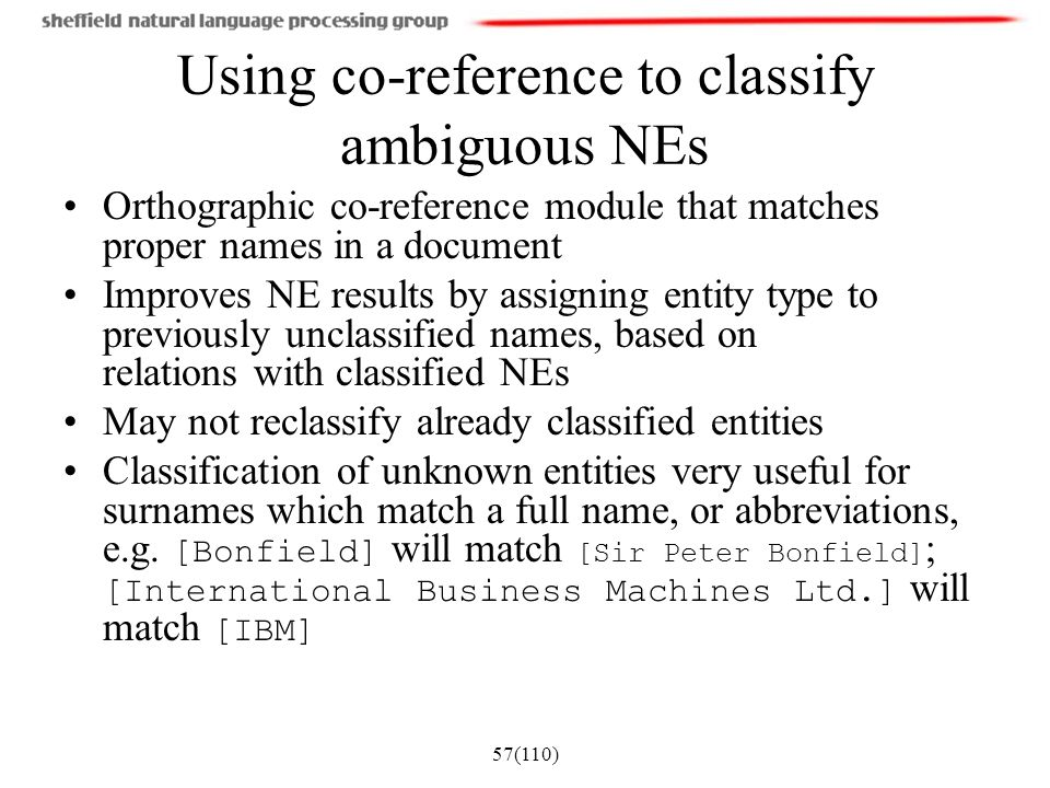 Using co-reference to classify ambiguous NEs