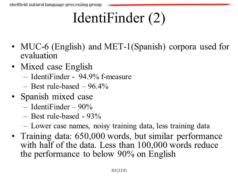 IdentiFinder (2) MUC-6 (English) and MET-1(Spanish) corpora used for evaluation. Mixed case English.