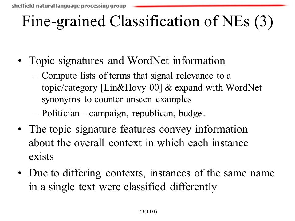 Fine-grained Classification of NEs (3)