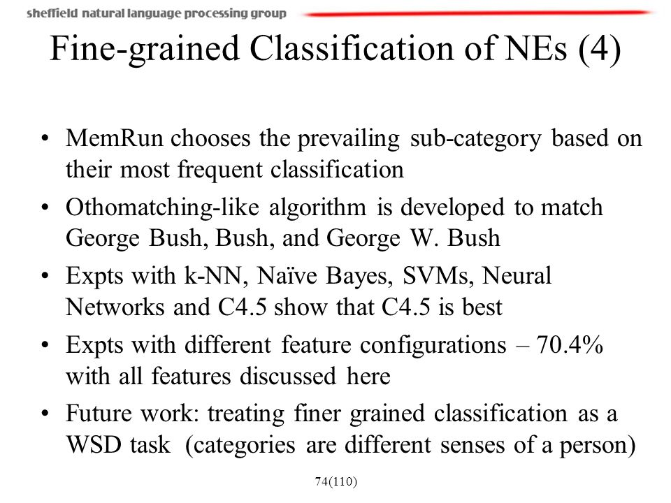 Fine-grained Classification of NEs (4)
