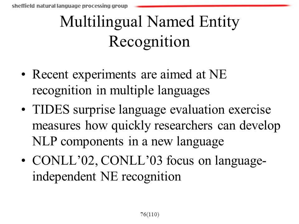 Multilingual Named Entity Recognition