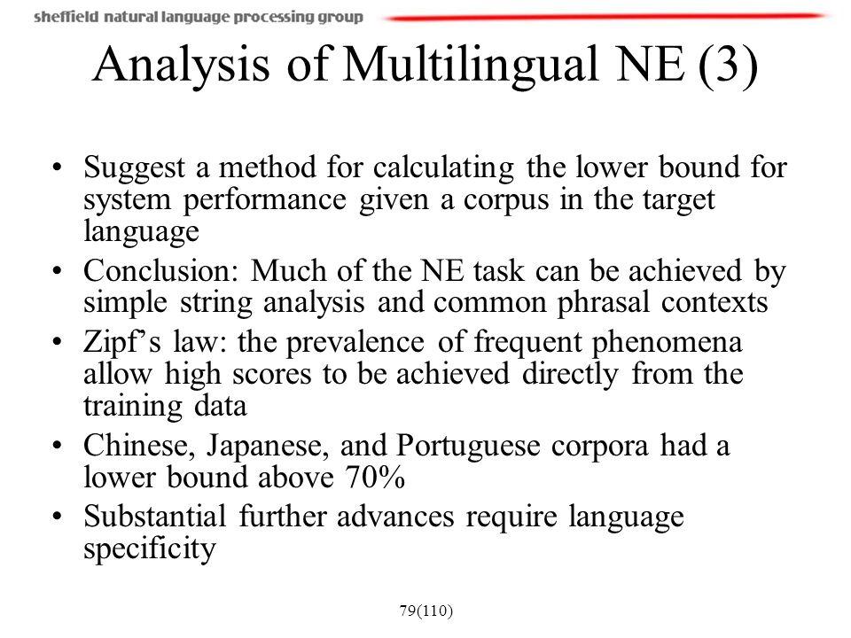 Analysis of Multilingual NE (3)