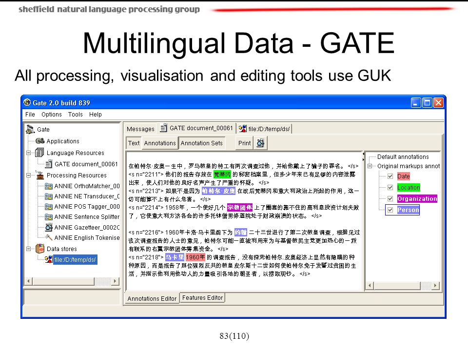 Multilingual Data - GATE