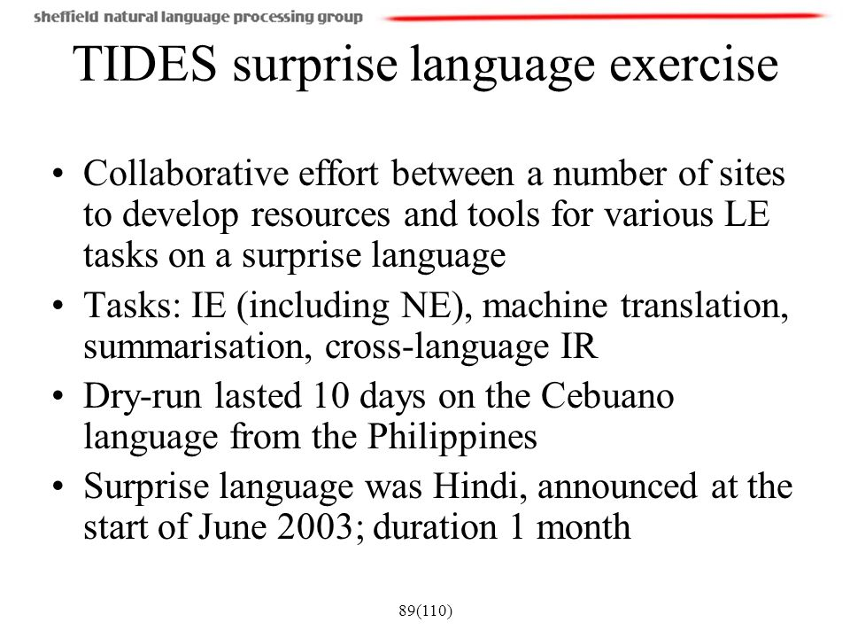 TIDES surprise language exercise