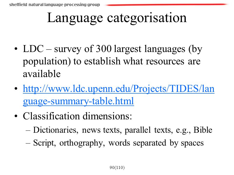 Language categorisation