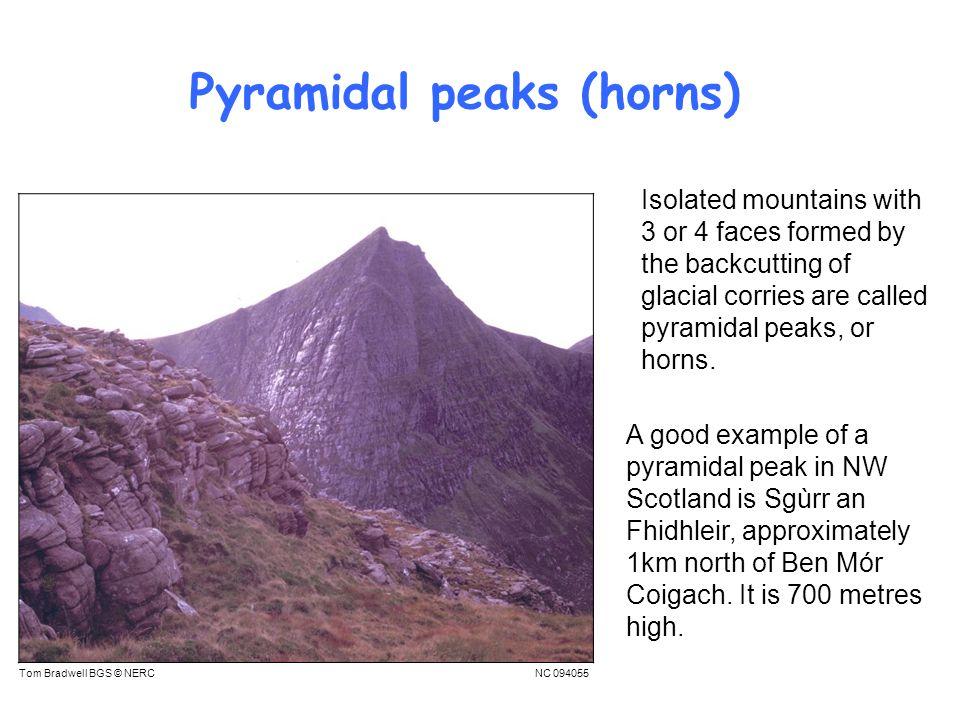 Pyramidal peaks (horns)