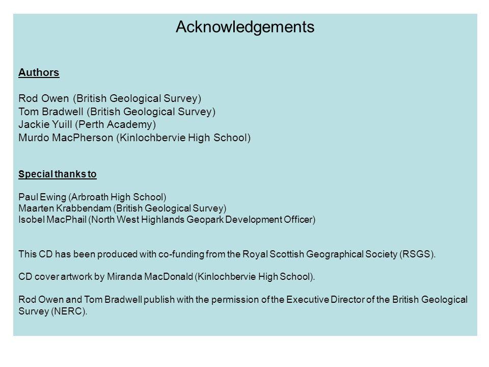 Acknowledgements Authors Rod Owen (British Geological Survey)