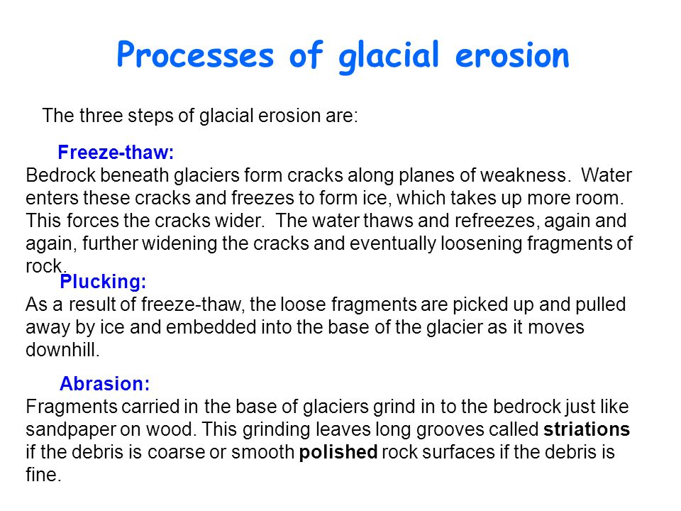 Processes of glacial erosion