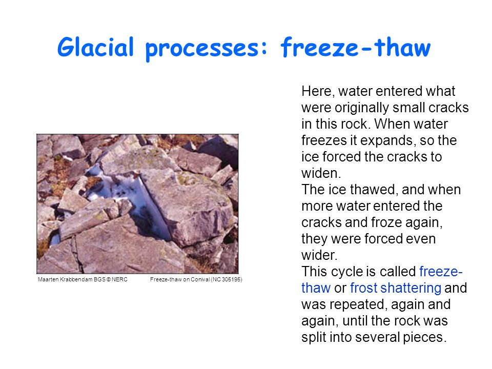 Glacial processes: freeze-thaw