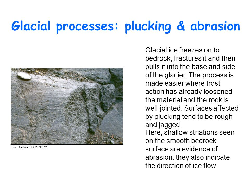 Glacial processes: plucking & abrasion