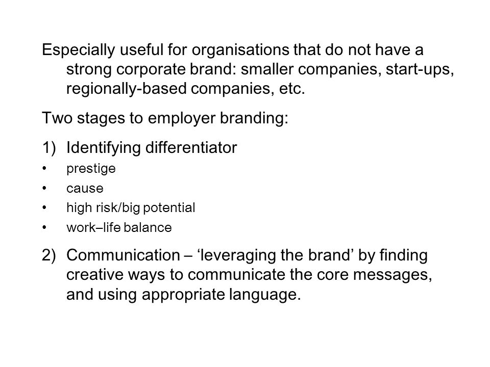 Two stages to employer branding: Identifying differentiator