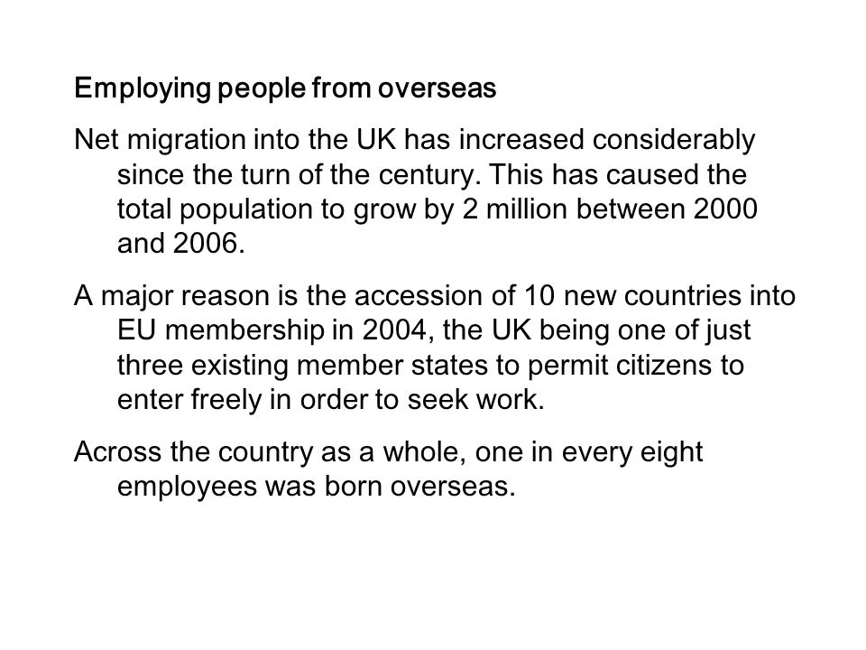 Employing people from overseas