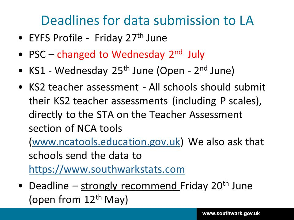 Deadlines for data submission to LA