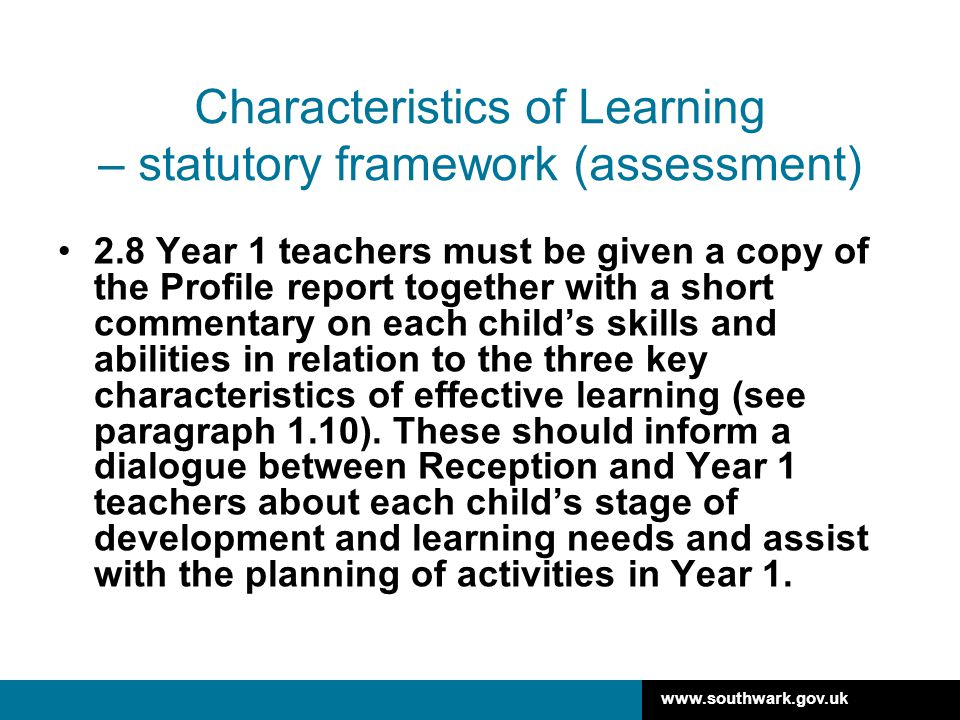 Characteristics of Learning – statutory framework (assessment)