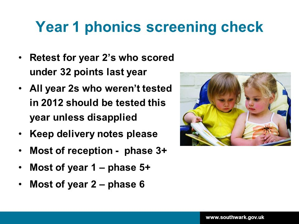 Year 1 phonics screening check