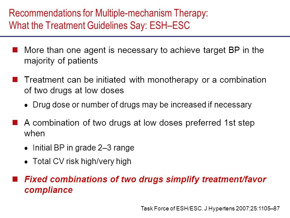 Recommendations for Multiple-mechanism Therapy: What the Treatment Guidelines Say: ESH–ESC