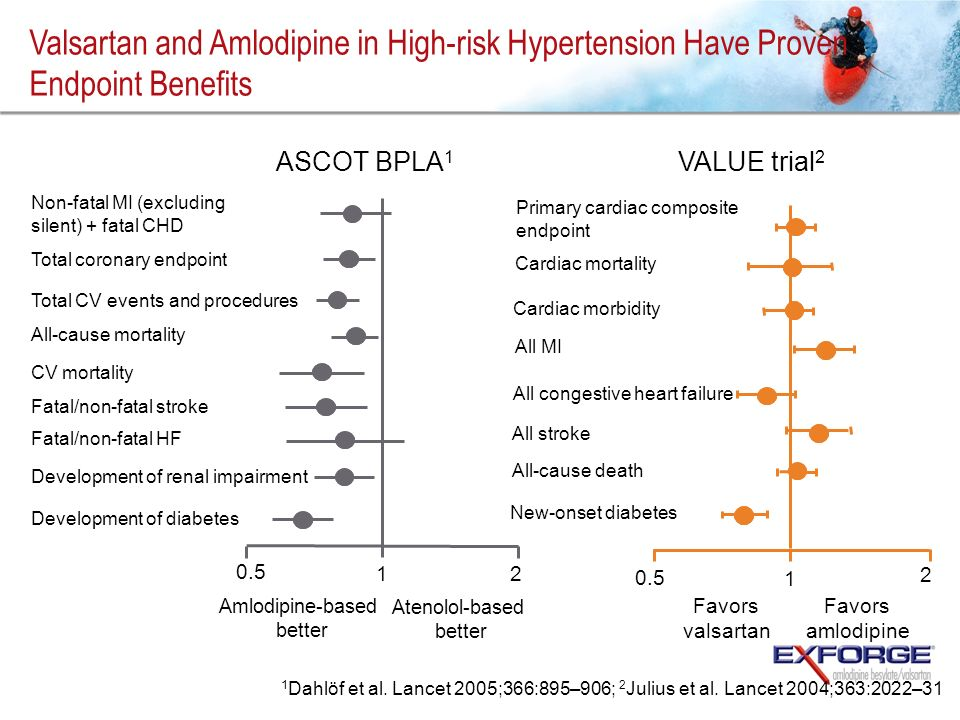 Valsartan and Amlodipine in High-risk Hypertension Have Proven Endpoint Benefits