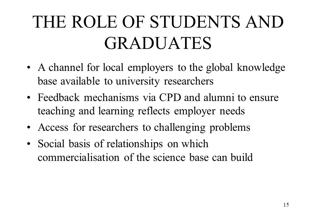 THE ROLE OF STUDENTS AND GRADUATES