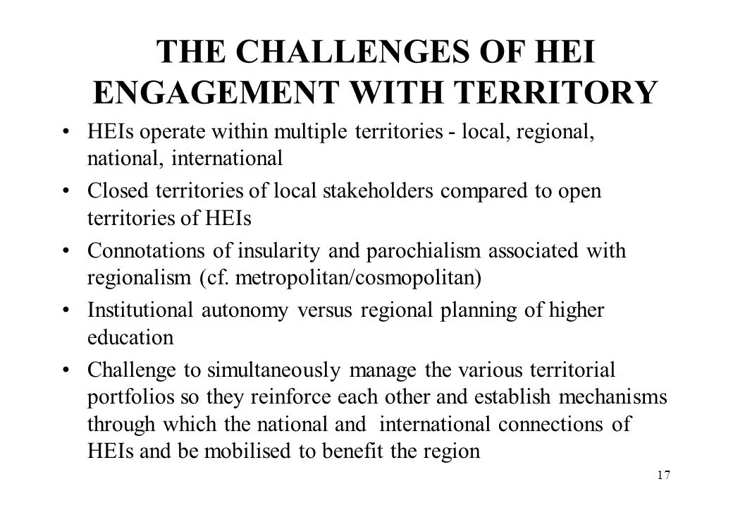 THE CHALLENGES OF HEI ENGAGEMENT WITH TERRITORY
