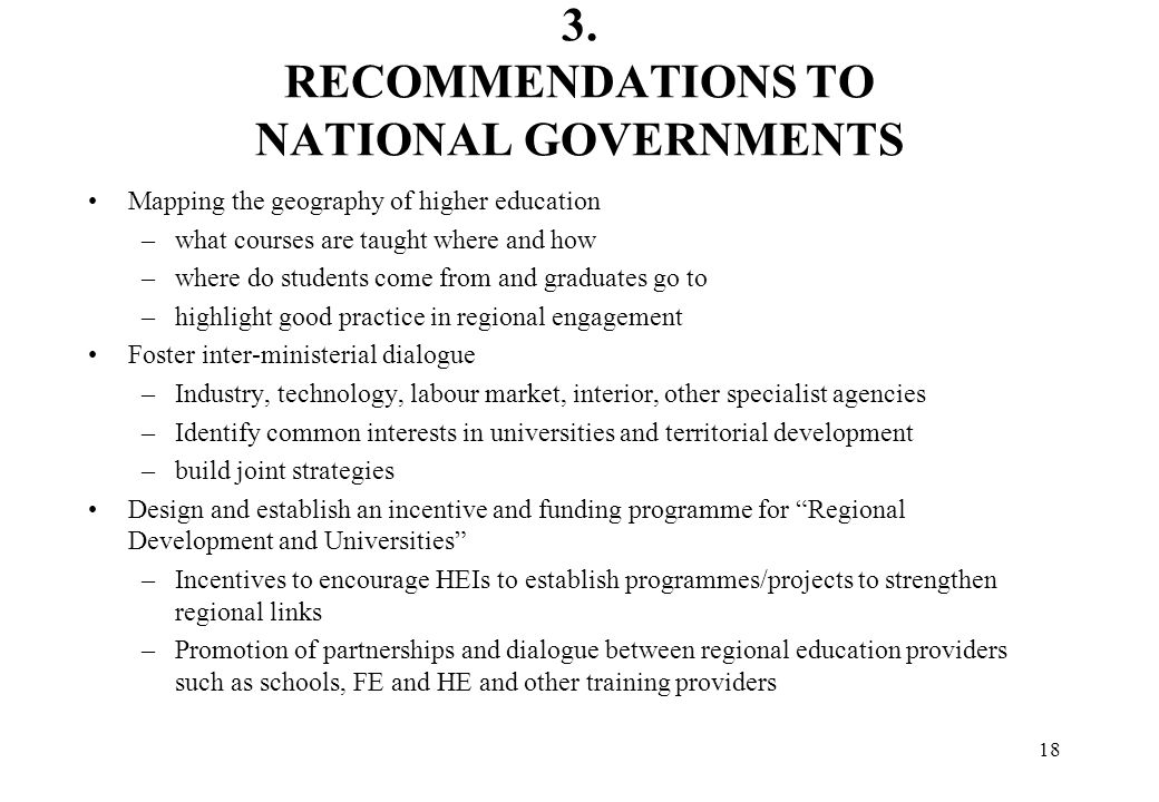 3. RECOMMENDATIONS TO NATIONAL GOVERNMENTS