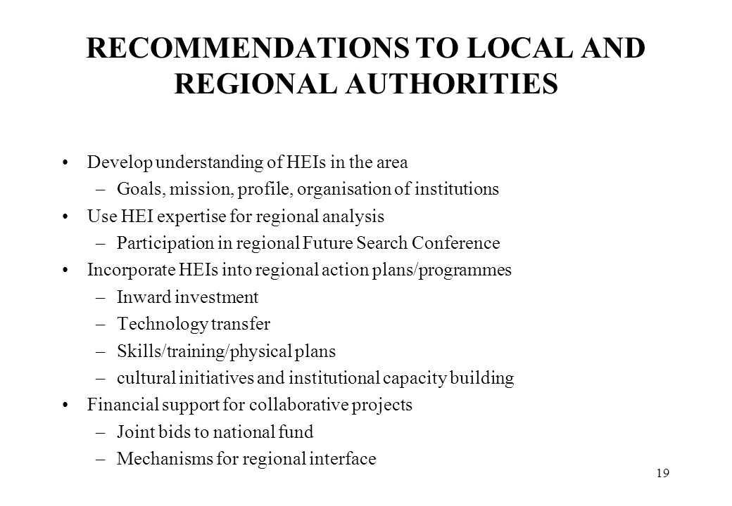 RECOMMENDATIONS TO LOCAL AND REGIONAL AUTHORITIES