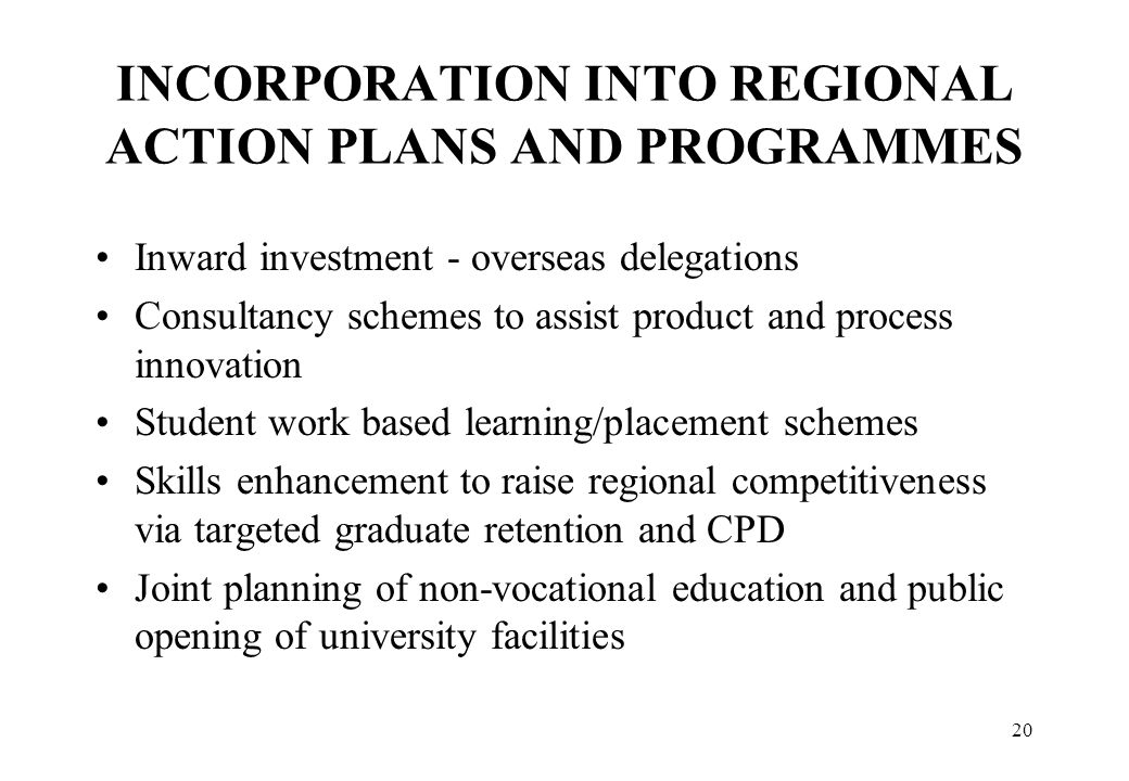 INCORPORATION INTO REGIONAL ACTION PLANS AND PROGRAMMES