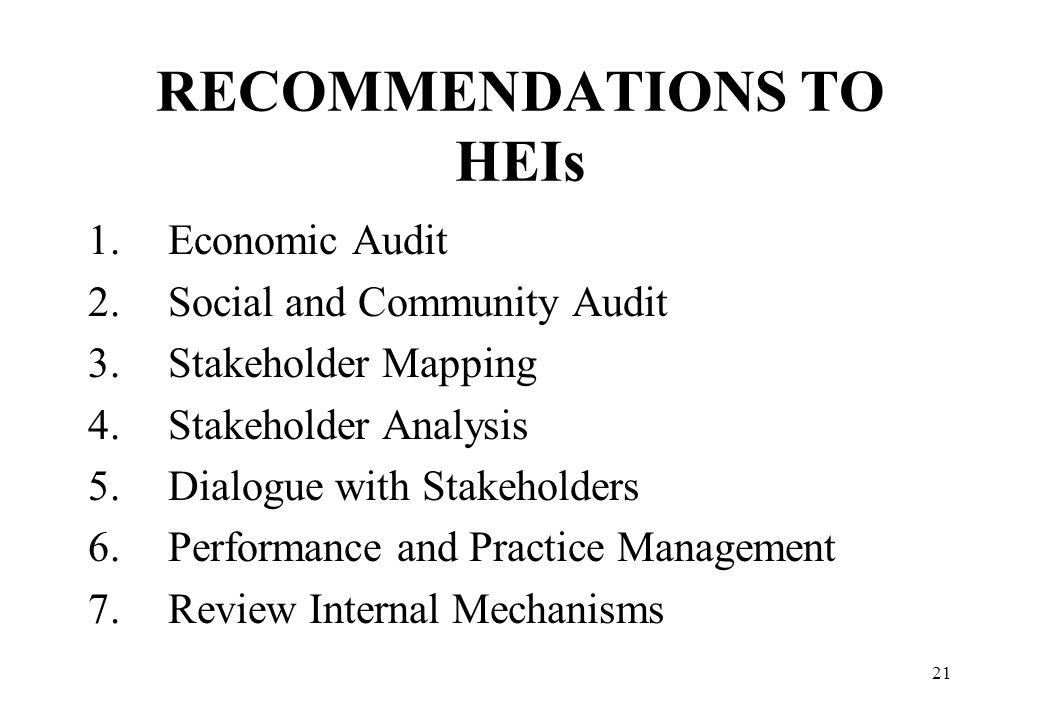 RECOMMENDATIONS TO HEIs