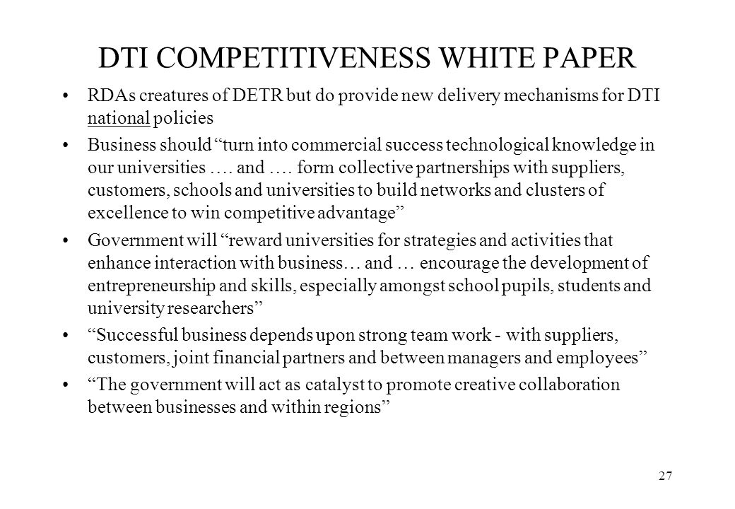 DTI COMPETITIVENESS WHITE PAPER