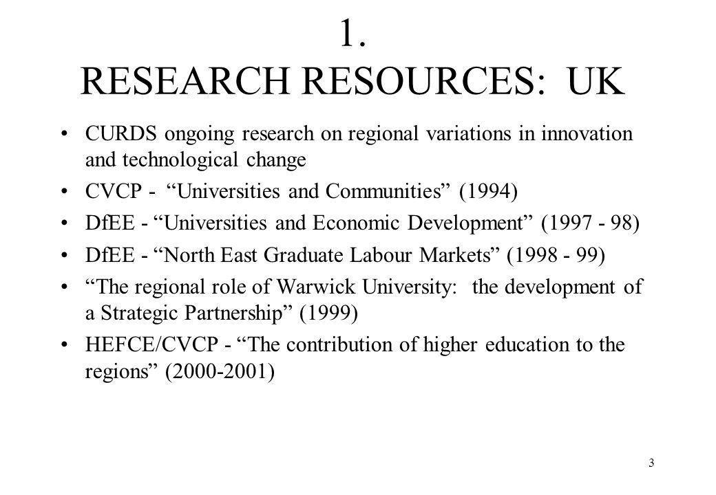 1. RESEARCH RESOURCES: UK