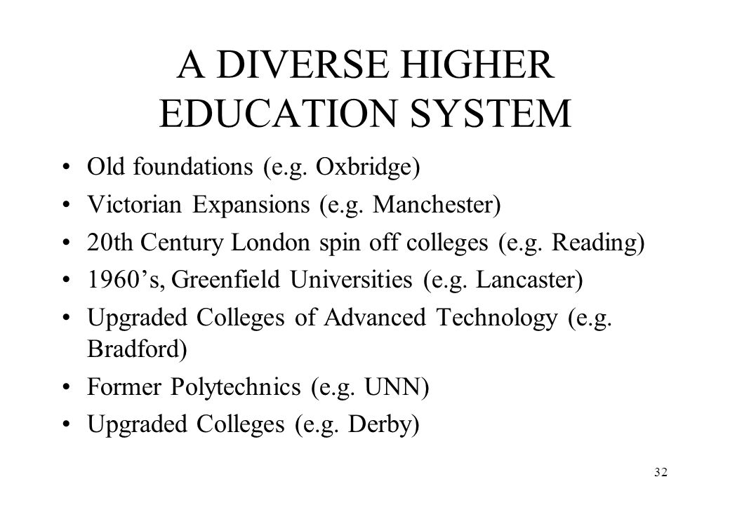 A DIVERSE HIGHER EDUCATION SYSTEM