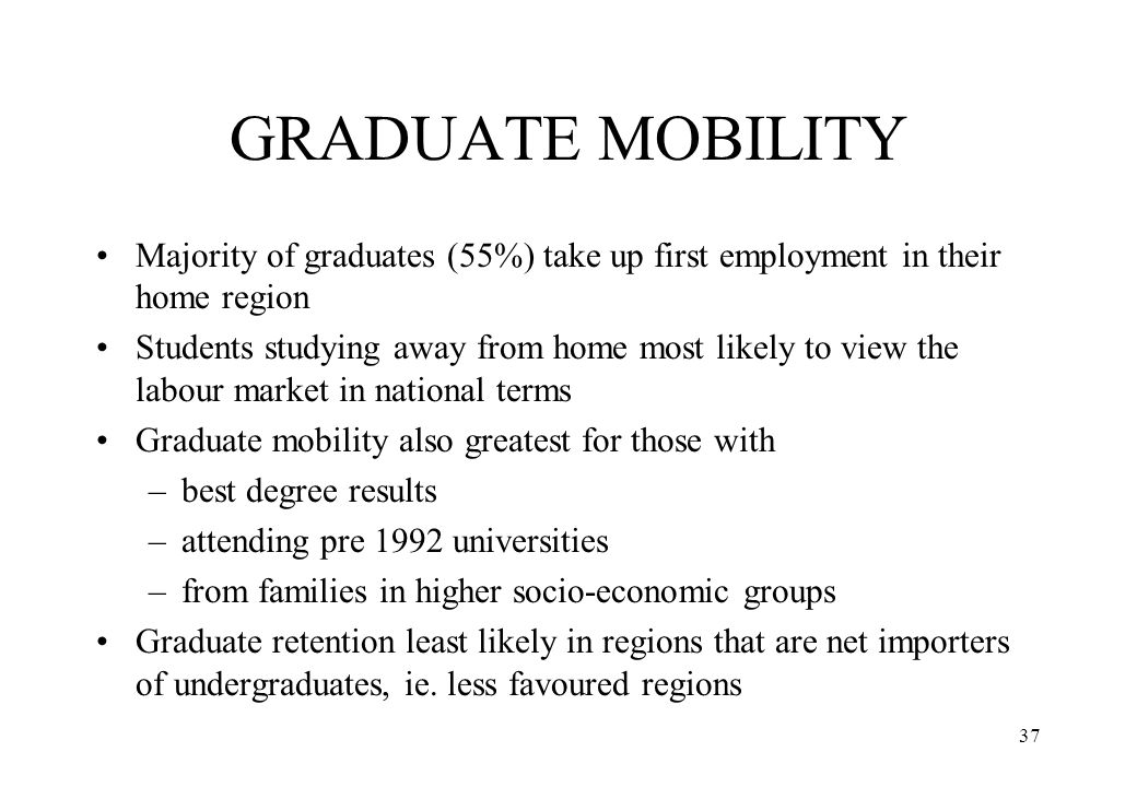 GRADUATE MOBILITY Majority of graduates (55%) take up first employment in their home region.