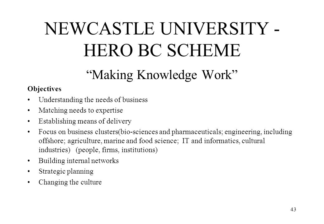 NEWCASTLE UNIVERSITY - HERO BC SCHEME