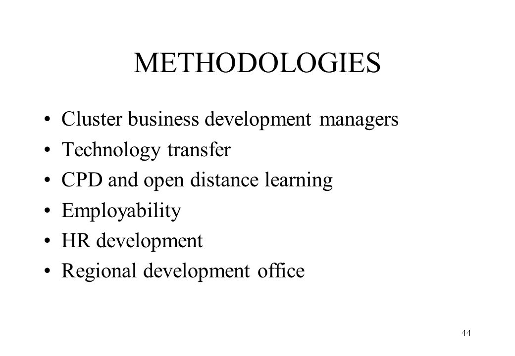 METHODOLOGIES Cluster business development managers