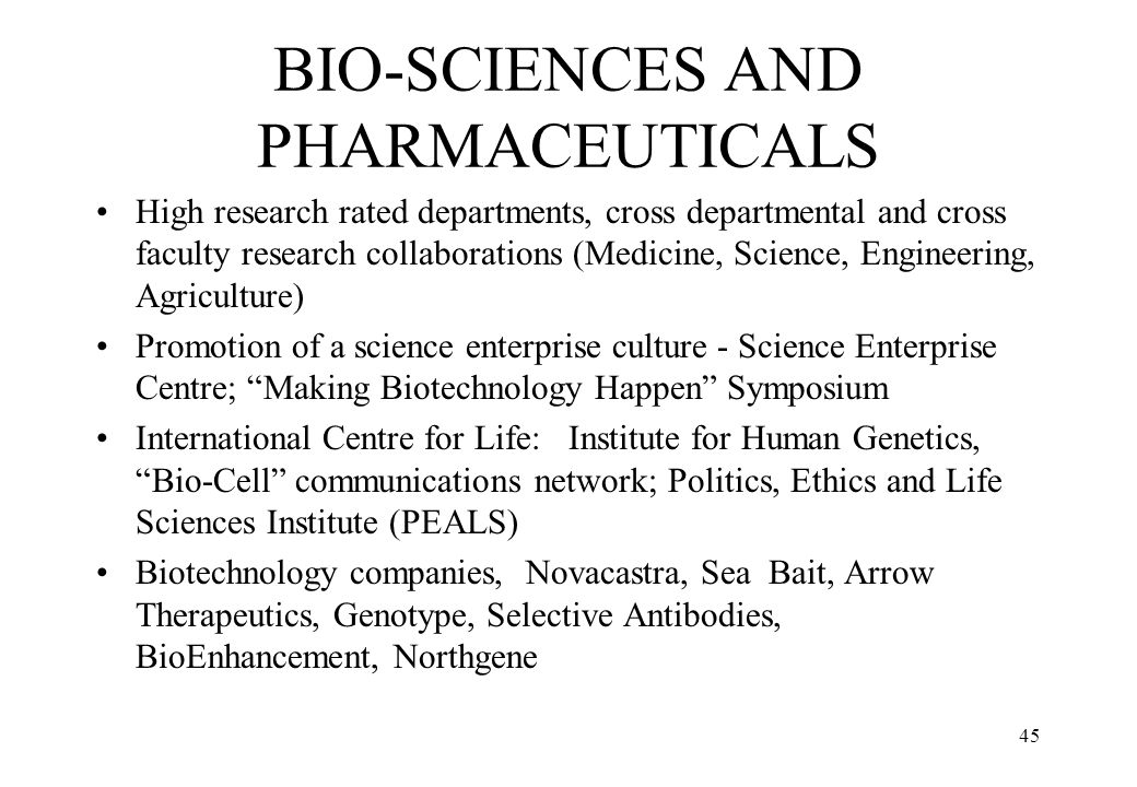 BIO-SCIENCES AND PHARMACEUTICALS