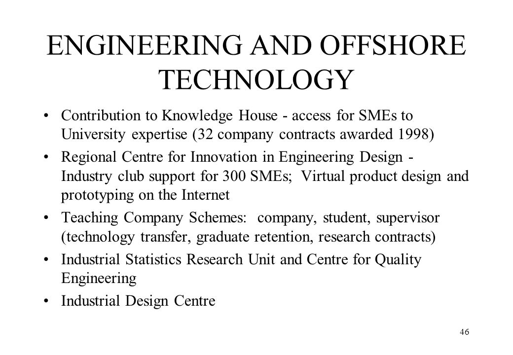 ENGINEERING AND OFFSHORE TECHNOLOGY