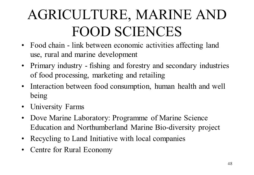 AGRICULTURE, MARINE AND FOOD SCIENCES