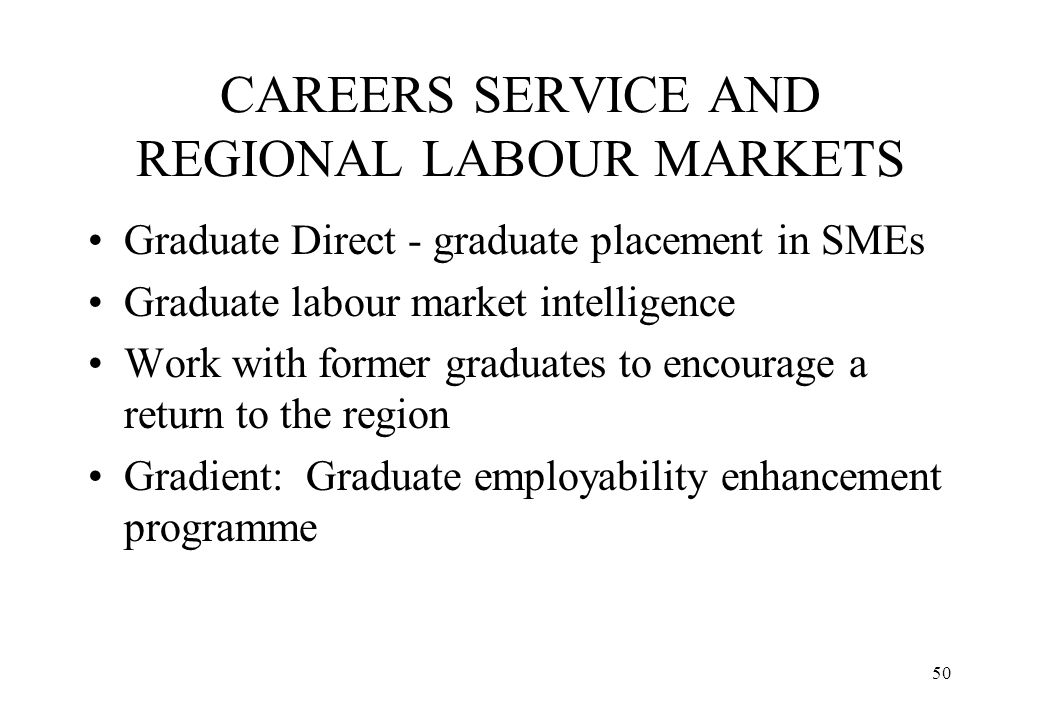 CAREERS SERVICE AND REGIONAL LABOUR MARKETS