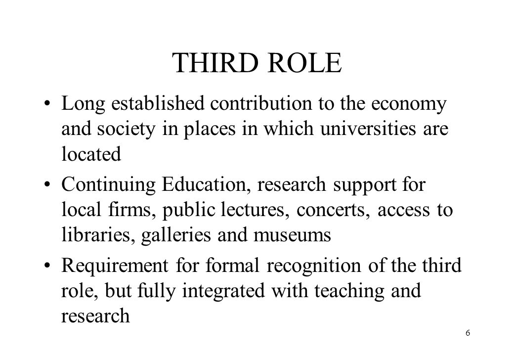 THIRD ROLE Long established contribution to the economy and society in places in which universities are located.
