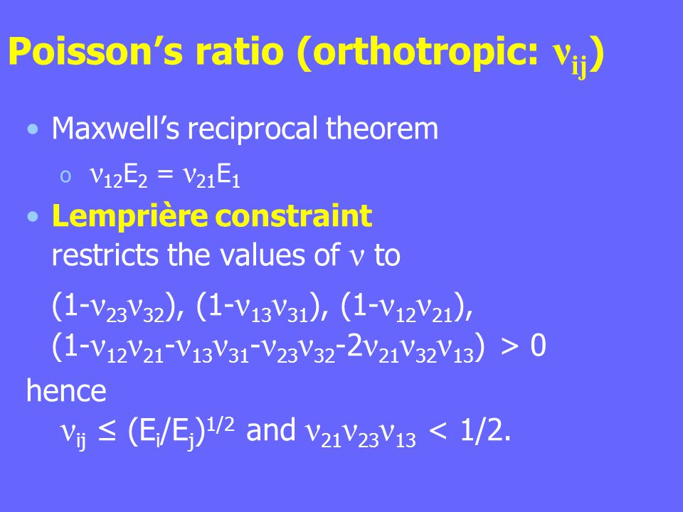 Poisson's ratio (orthotropic: νij)